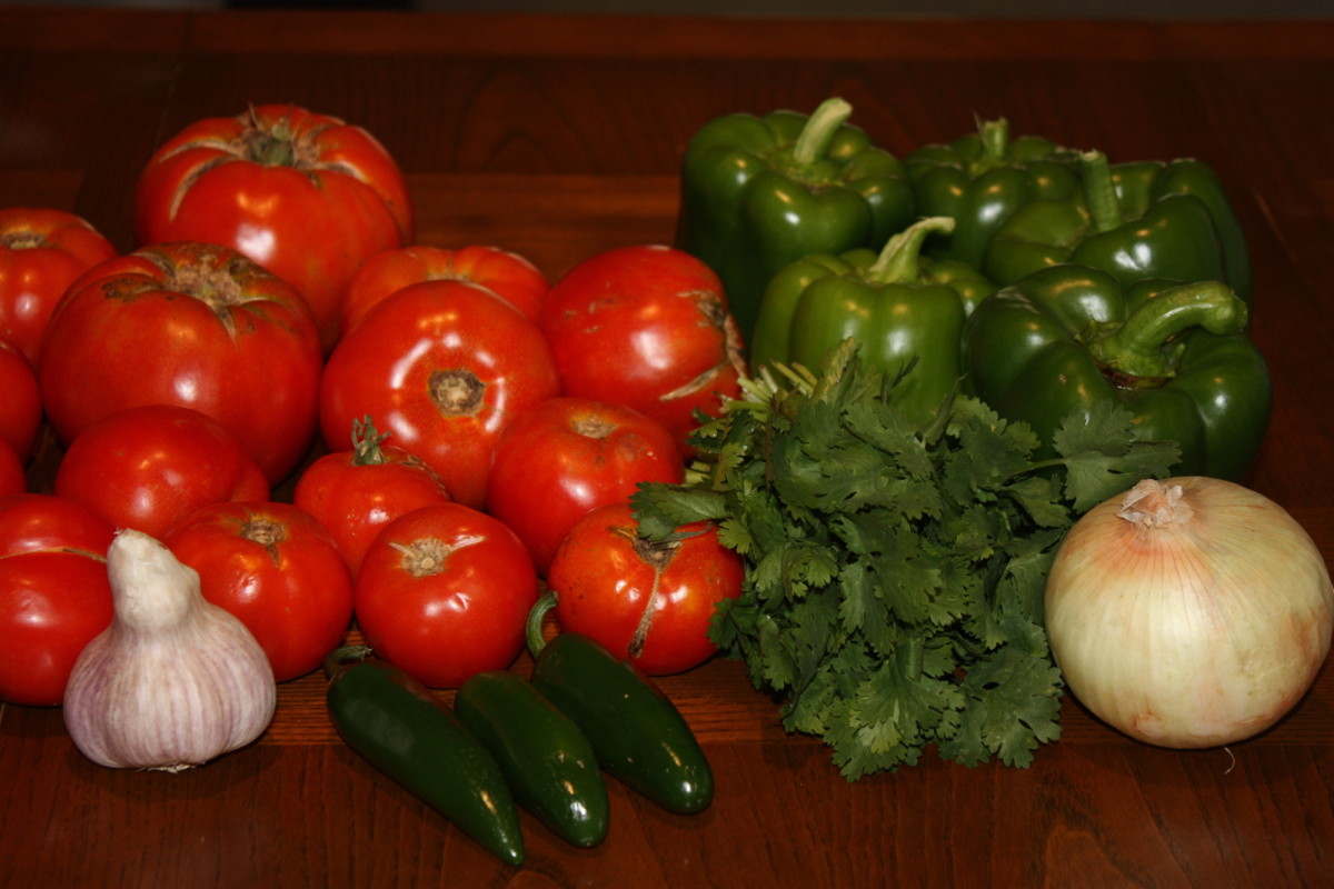 Ingredients for making picante sauce.