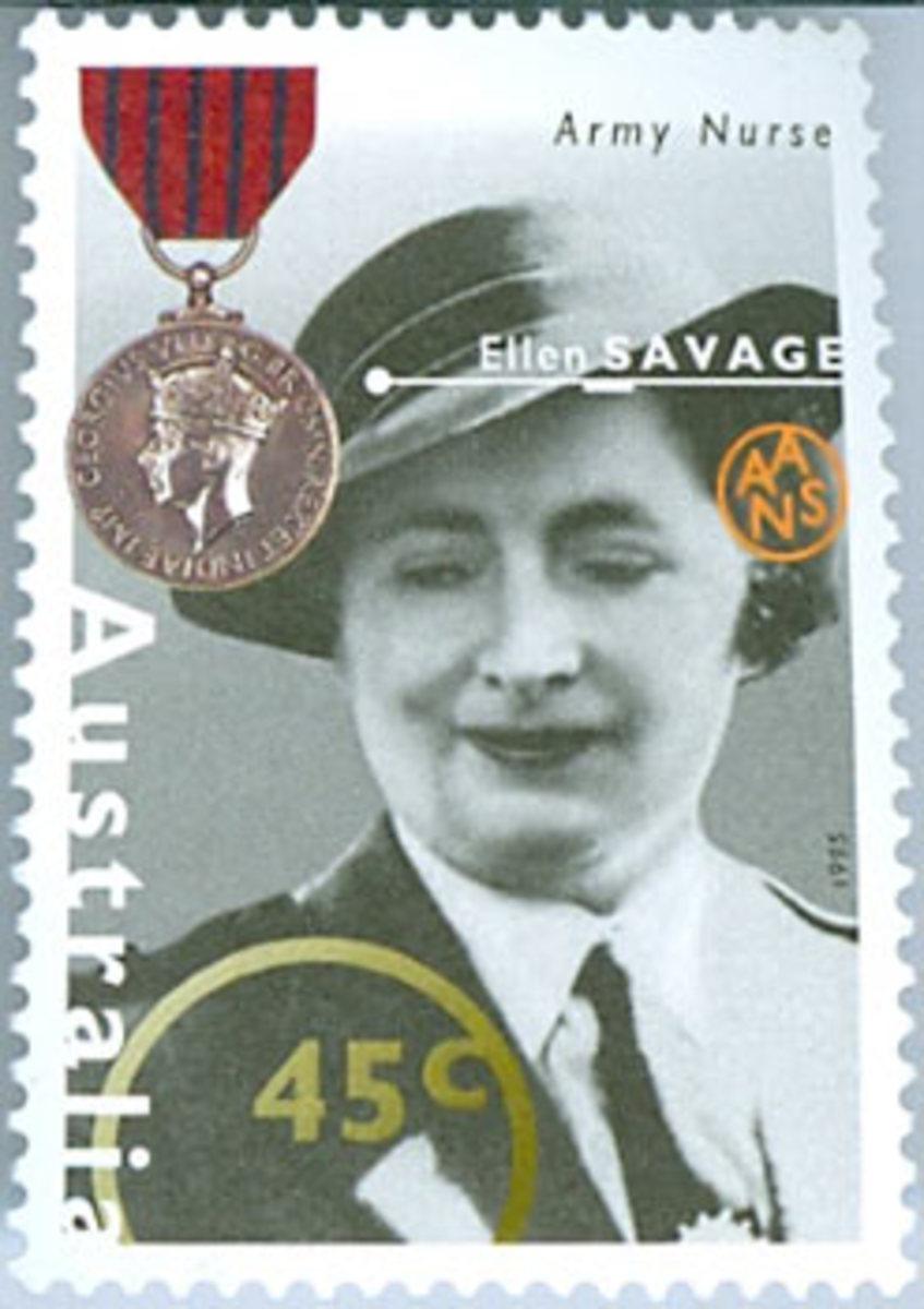 Postage stamp commemorating Ellen Savage's bravery during World War Two