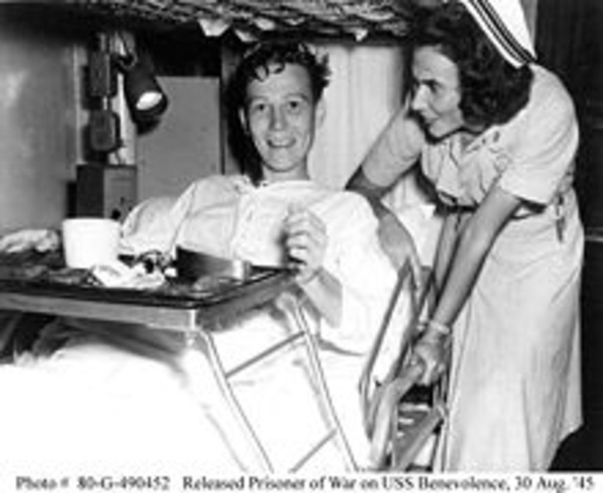 US Nurse supporting a POW from Japan