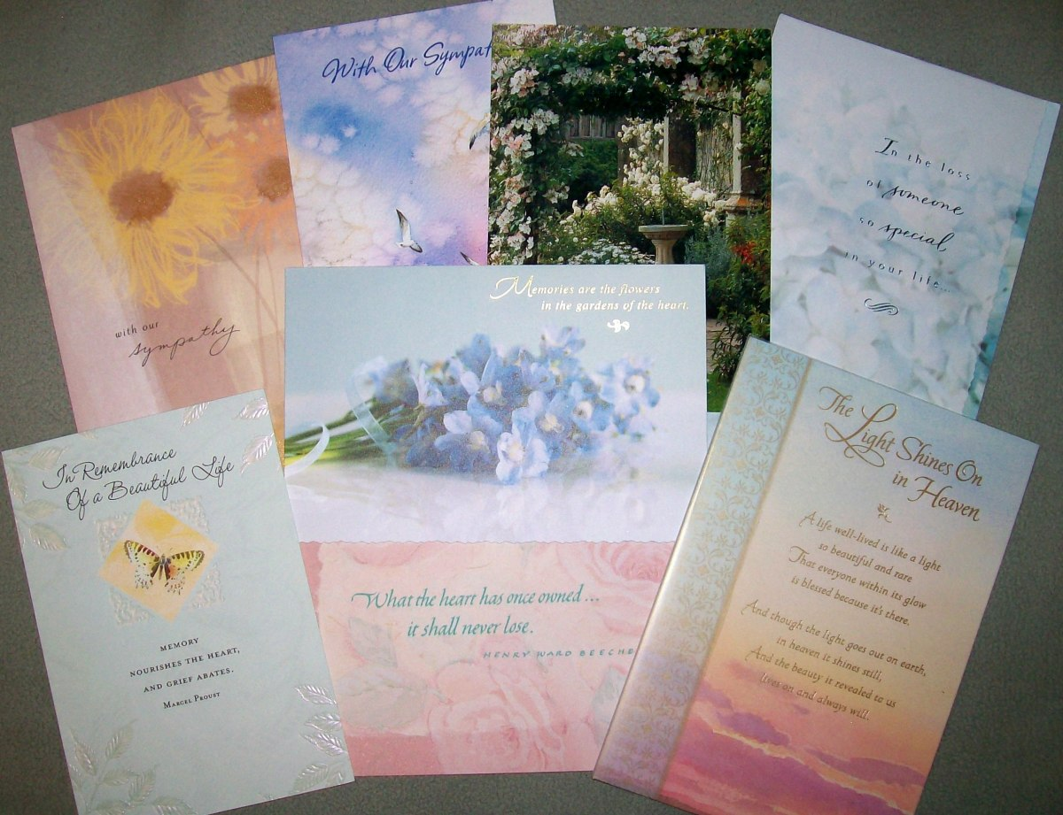 Handwritten sympathy cards are meaningful to the recipient for many years to come. These are some of the many cards I received when my mother passed away in 2005. Source: Sharyn's Slant