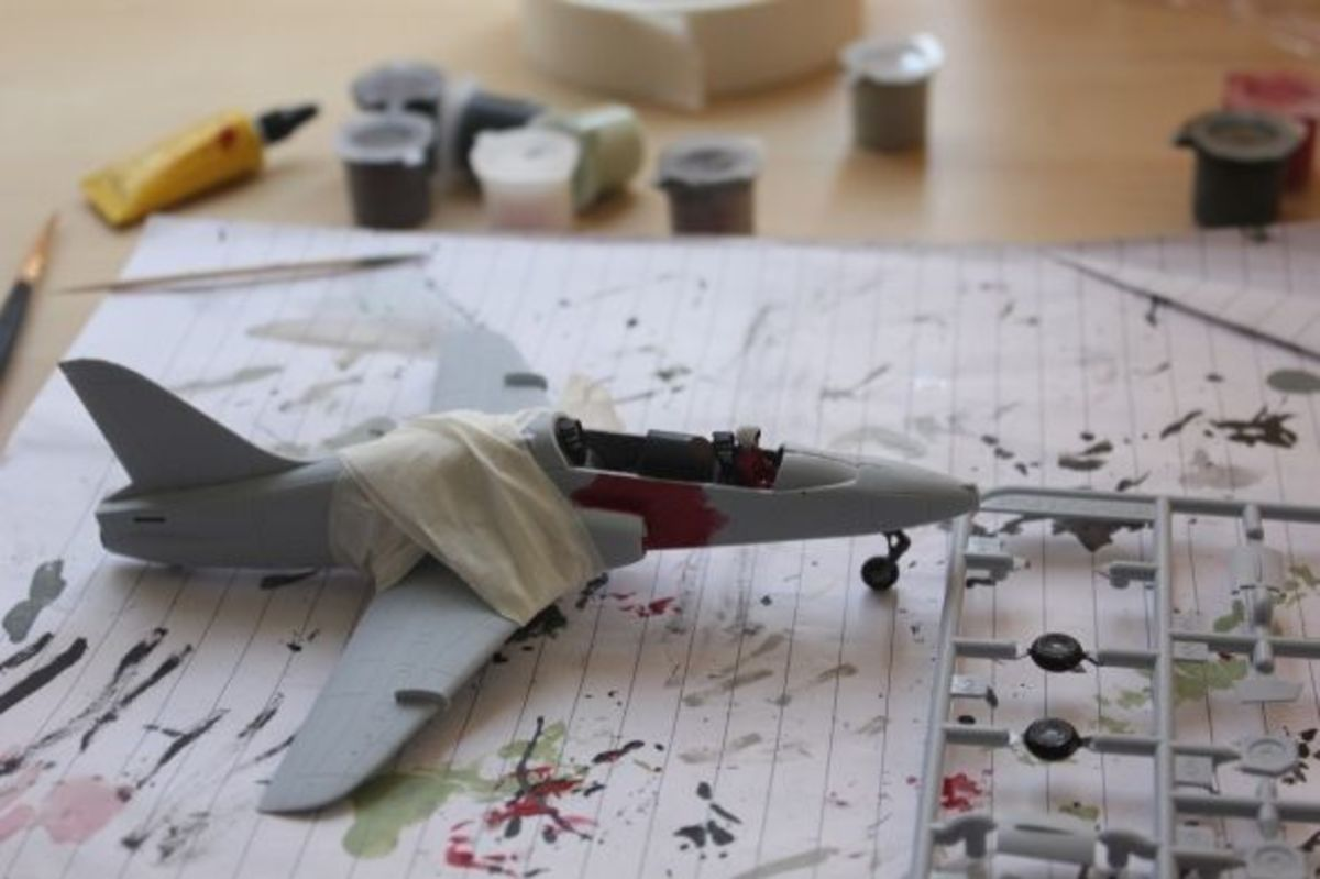 Airfix Red Arrow BAE Hawk Kit In Construction A02005