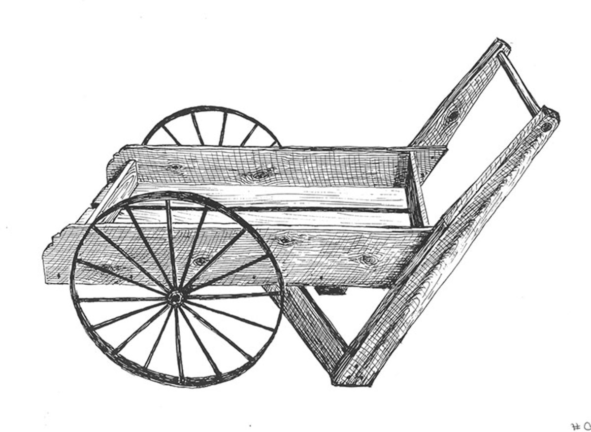 Reproduction metal wheel cart plans and hardware.