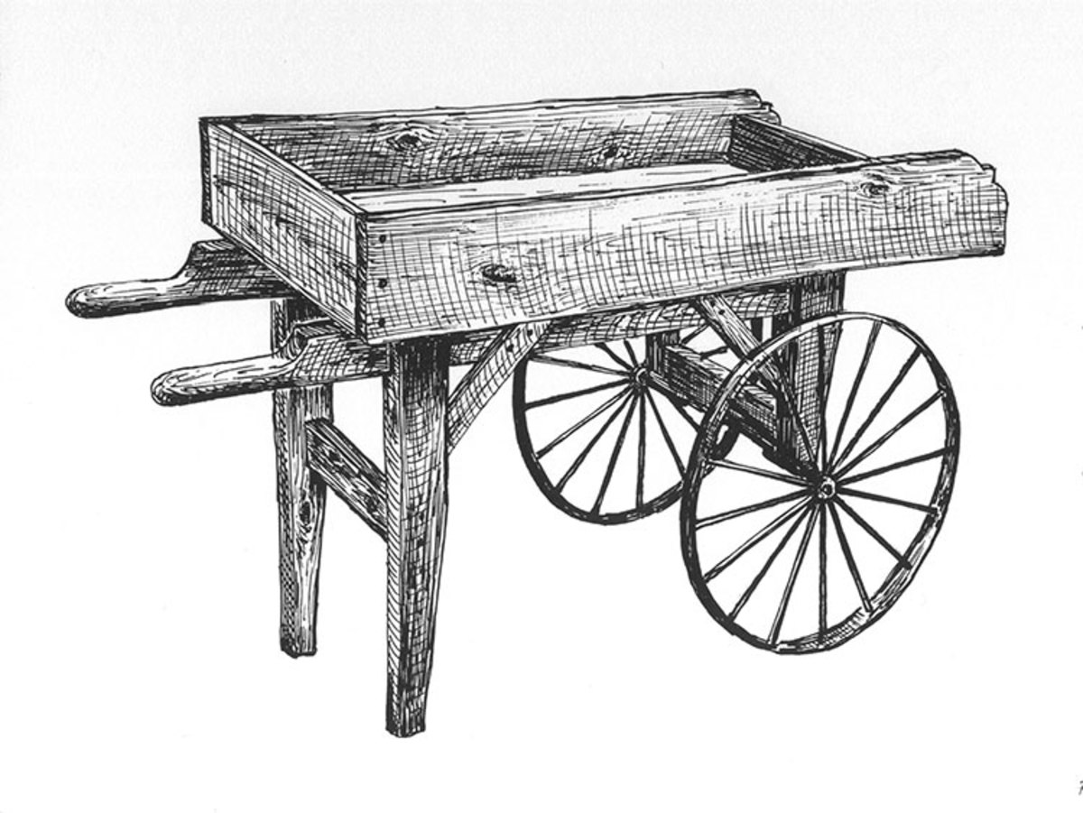 Old fashioned wooden wheelbarrows vendor carts for Old black and white photos for sale