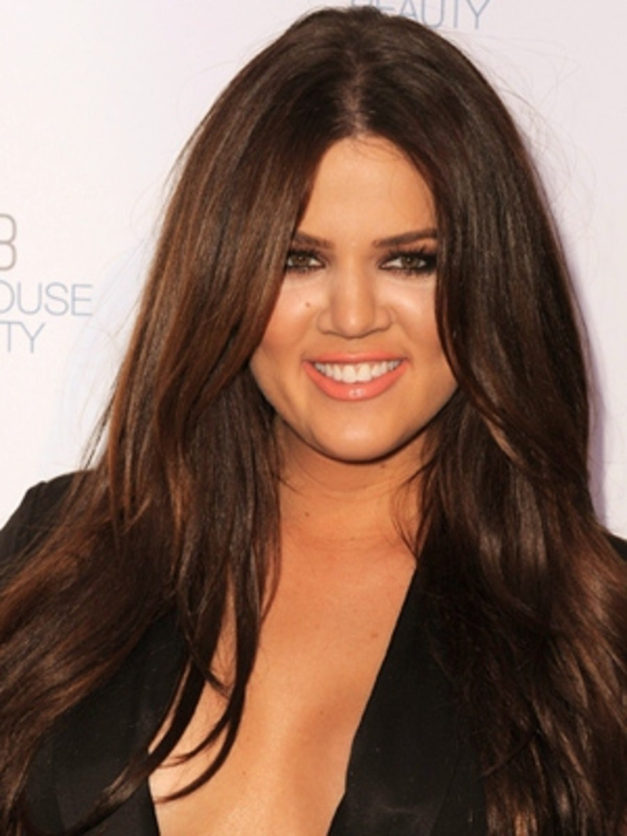 Khloe Kardashian with Long Chocolate Brown Hair.