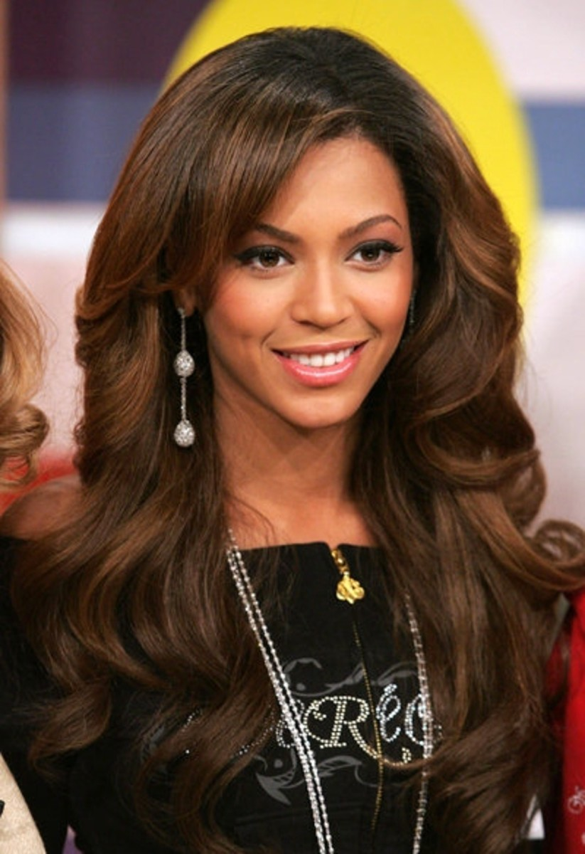 Beyonce with a Full, Lustrous Wig in Chocolate Brown.