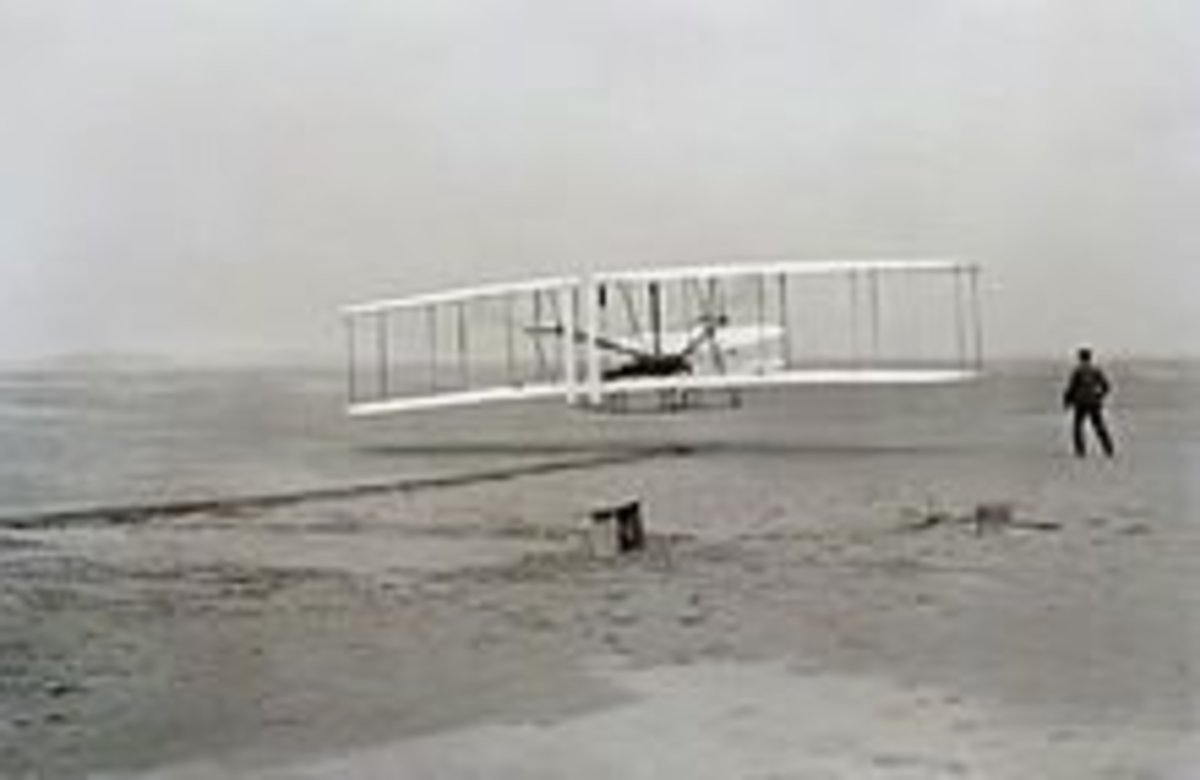Wright Brothers testing their model near Kitty Hawk
