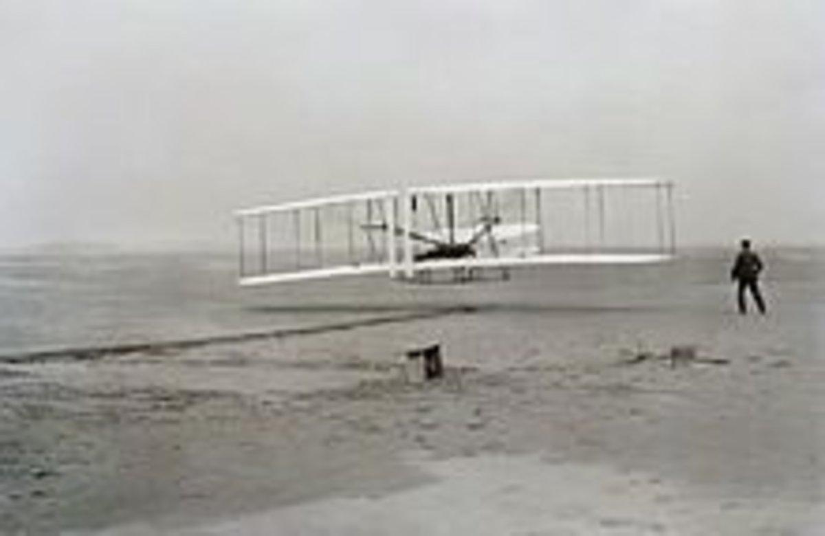 Wright Brothers testing their model near Kitty Hawk