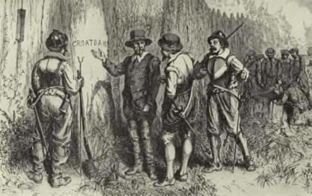 "The discovery of ""Croatoan"" on Roanoke Island"