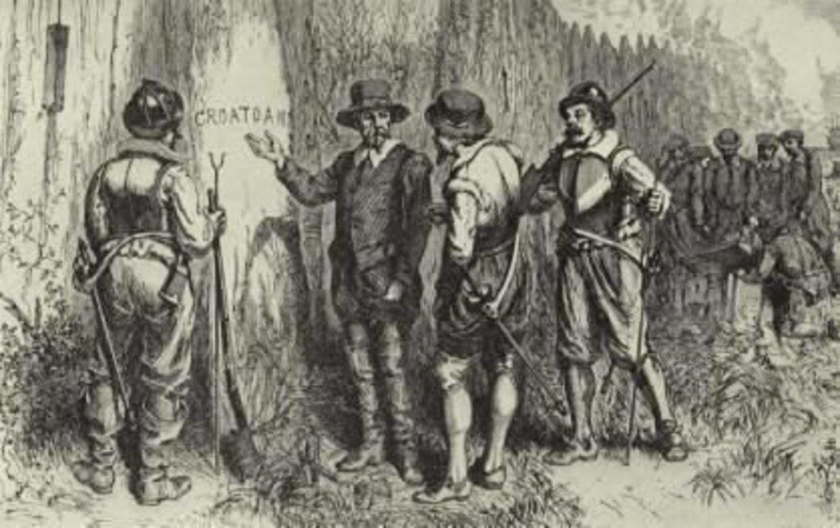 "The discovery of ""Croatoan"" on Roanoke Island"
