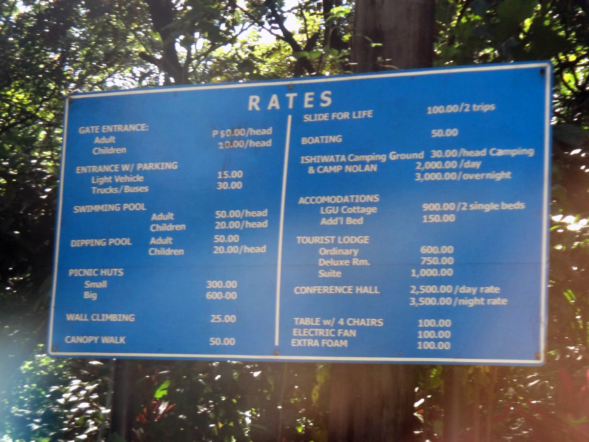 Rates in Mambukal Mountain Resort.