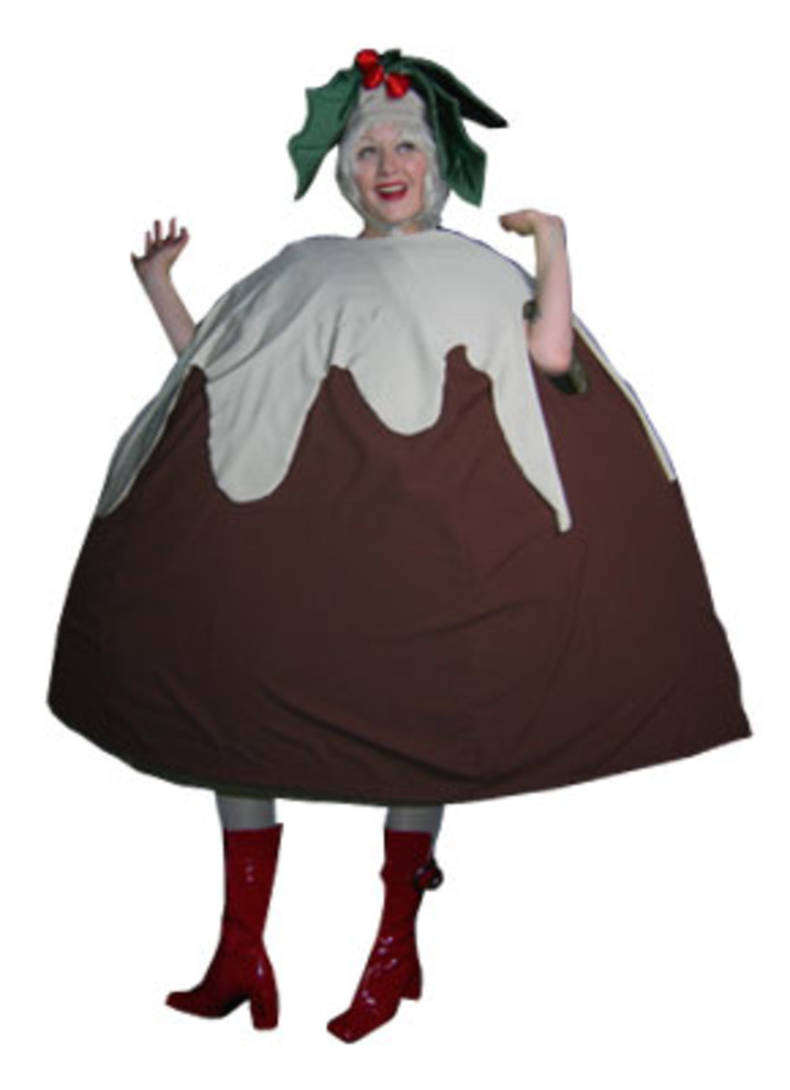Christmas pudding shaped costume with holly hat