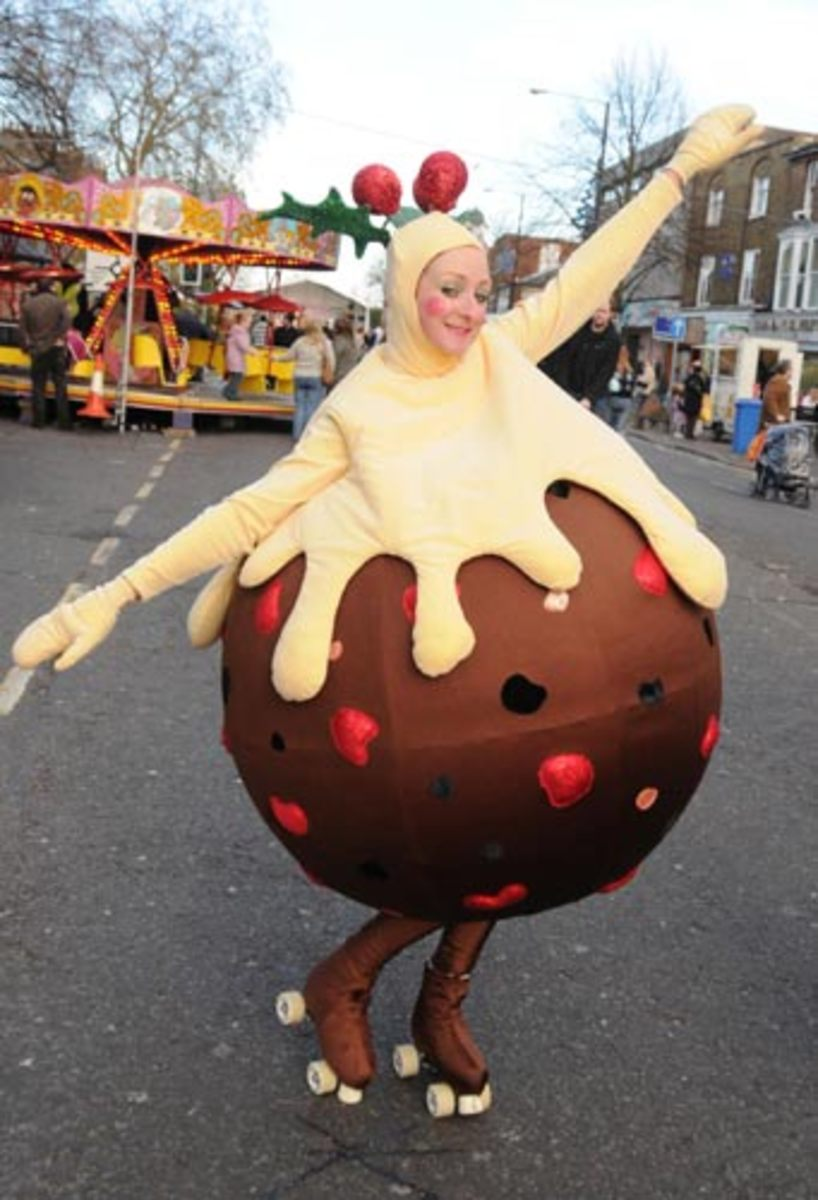 Roller Skating in Christmas Pudding Costume