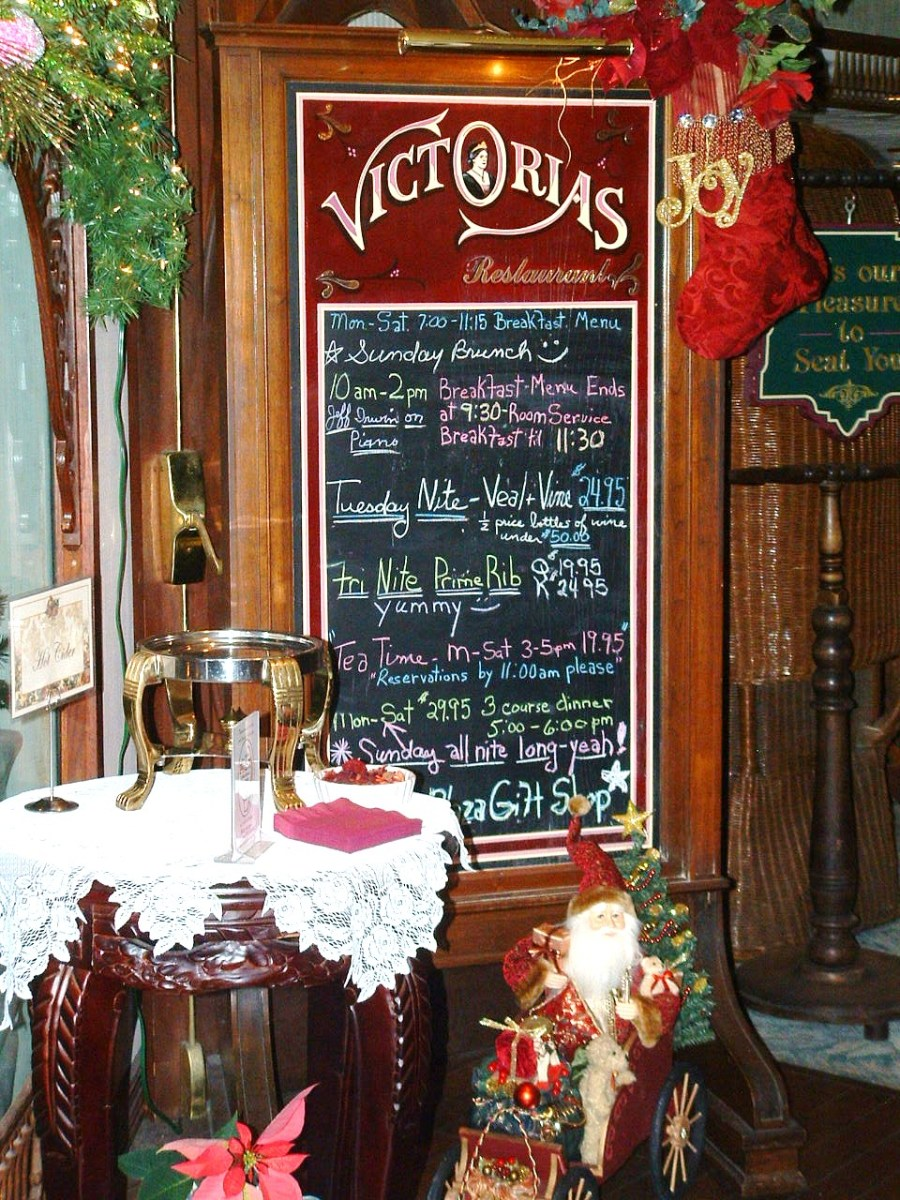 Menu board showing some of the many specials offered during the Christmas Holidays.