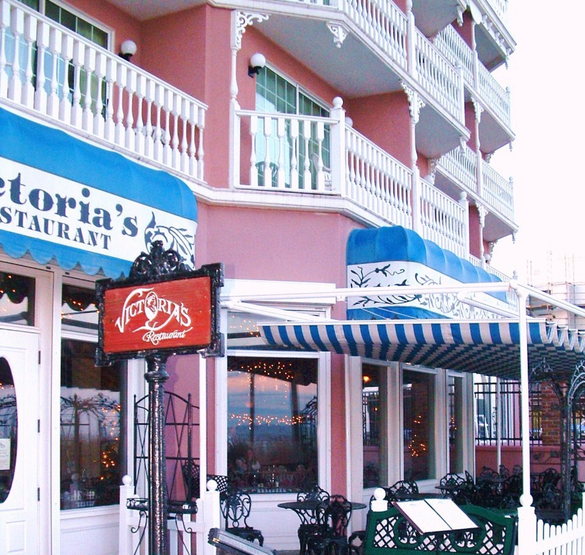 Victoria's Restaurant is part of the Boardwalk Plaza Hotel. This is a photo of the outdoor seating which is directly on the boardwalk. There is also a more formal dining room inside and oceanfront bar & lounge.