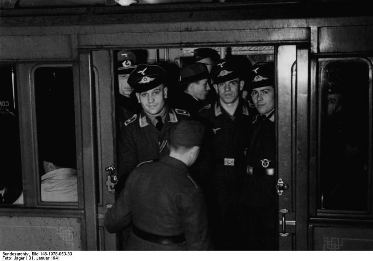 January 31,1941. German soldiers from the Luftwaffe and the Wehrmacht traveling in Paris subway, the Metropolitain