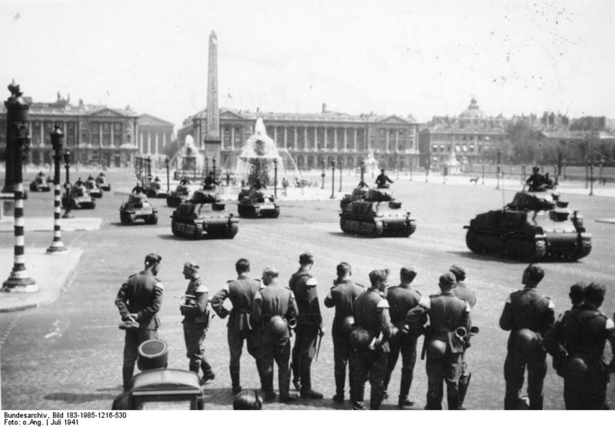 Parade of German Panzer tanks on the Place de la Concorde in July 1941, in front of Generalleutnant Schaumburg, named Commander of Paris
