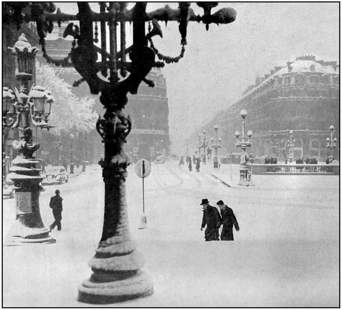 February 3rd 1941. Place de l'Opera seen from the steps of the Palais Garnier, Paris Opera House