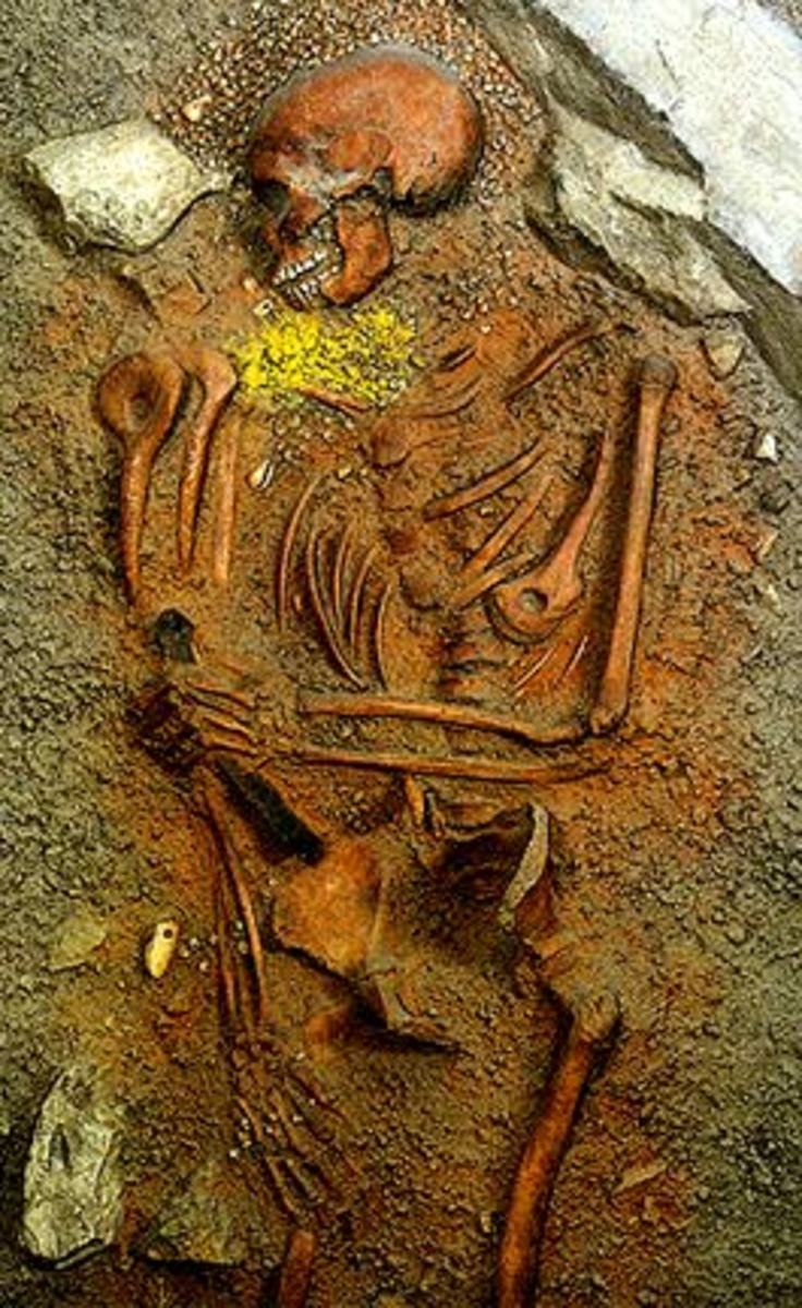 A human skeleton stained with red ochre.