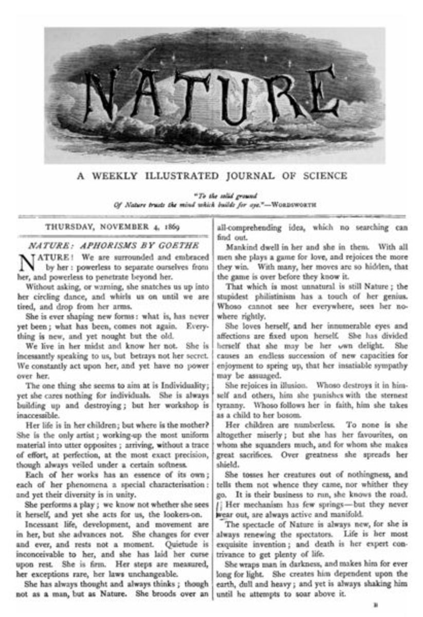 First title page of the scientific journal ''Nature'' in November 4, 1869.
