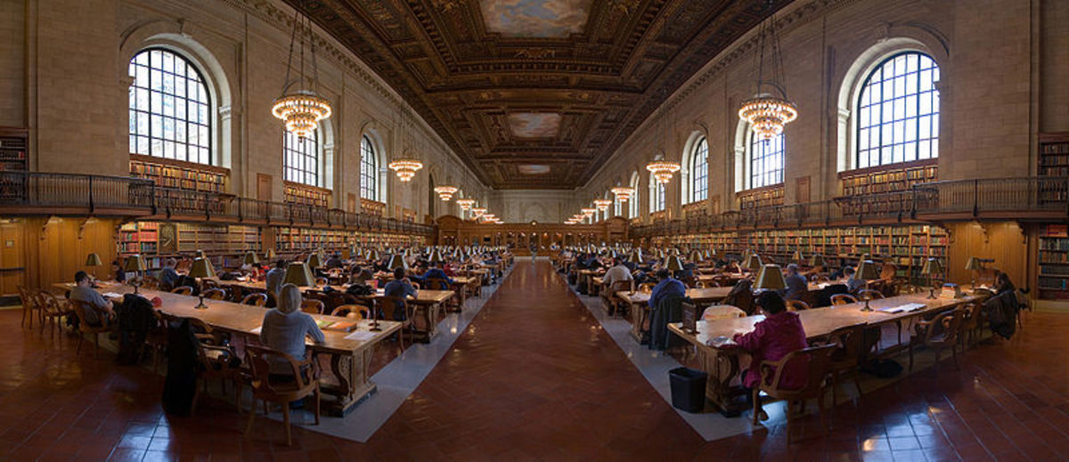 NYC Public Library: A great place to study for a test.