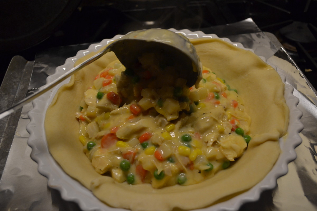Use a large ladle to fill your pie crust. Pour the hot filling directly into the crust at your own risk!