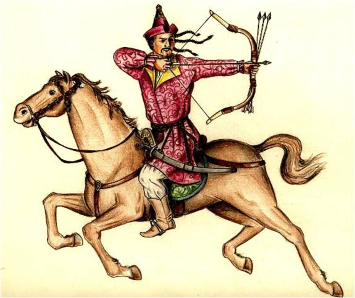 A Hungarian warrior on horseback.