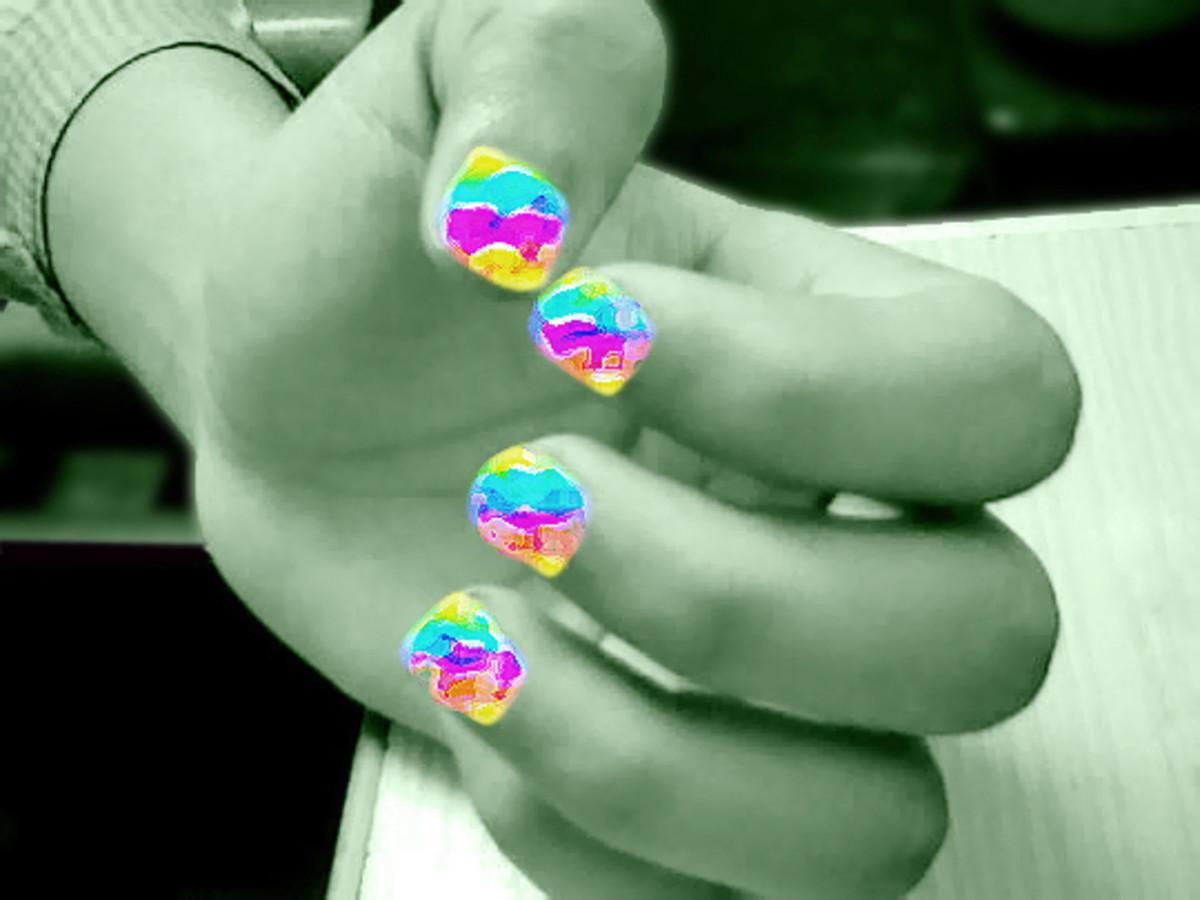 Nails painted using Photoshop