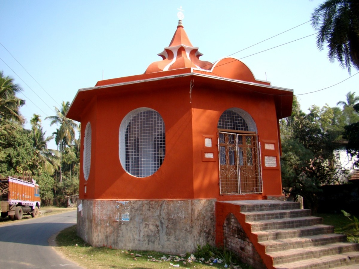 Dolmancha of Sainbona village, a temporary temple where the idol is kept for the occasion of Dol Jatra (HOLI in North India