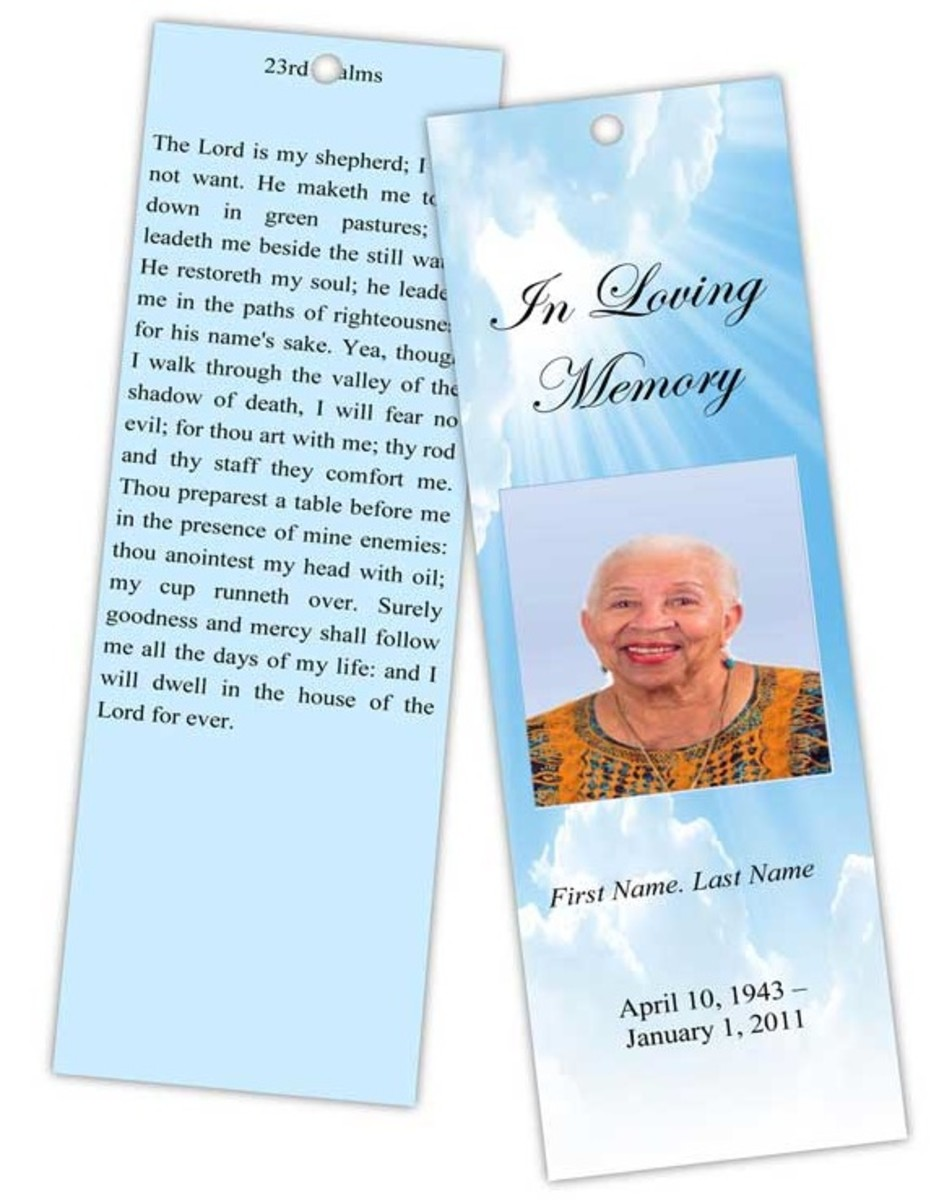 Designing memorial bookmarks hubpages for Free memorial bookmark template download