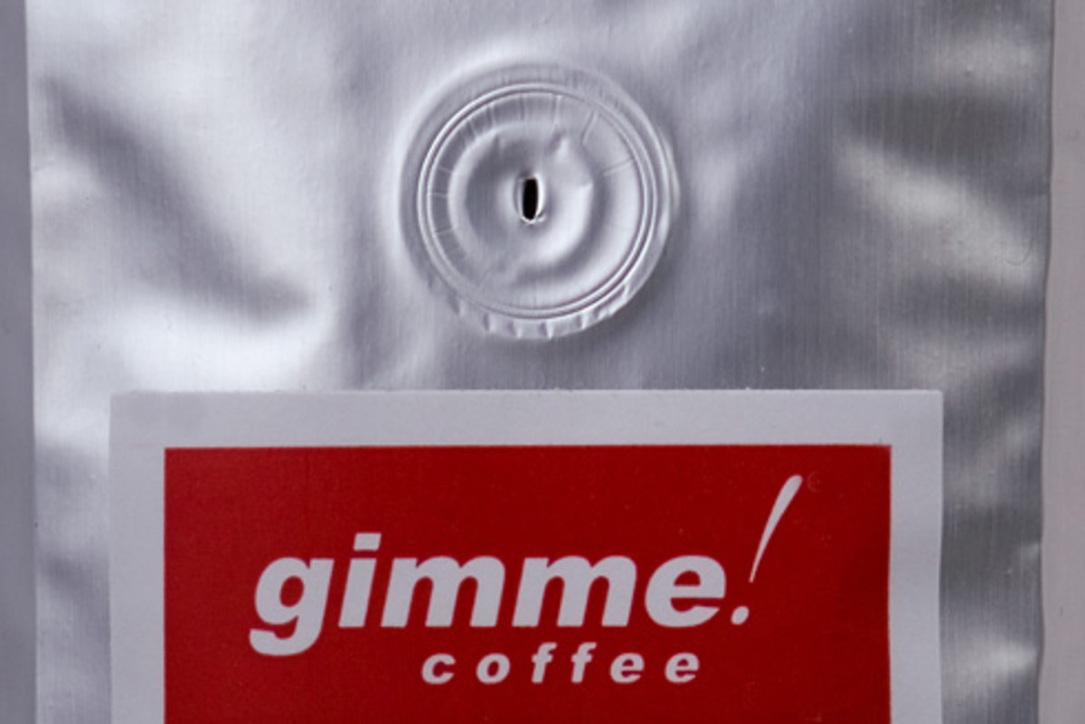 Foil coffee package with a valve