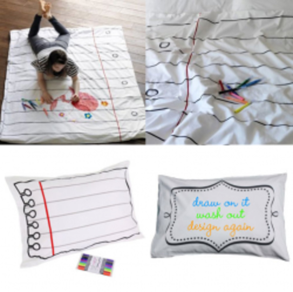 Doodle Duvet and Doodle Pillow Case. Write on them with a washable fabric pen. Wash and re-use over and over. This and more drawing games for kids!