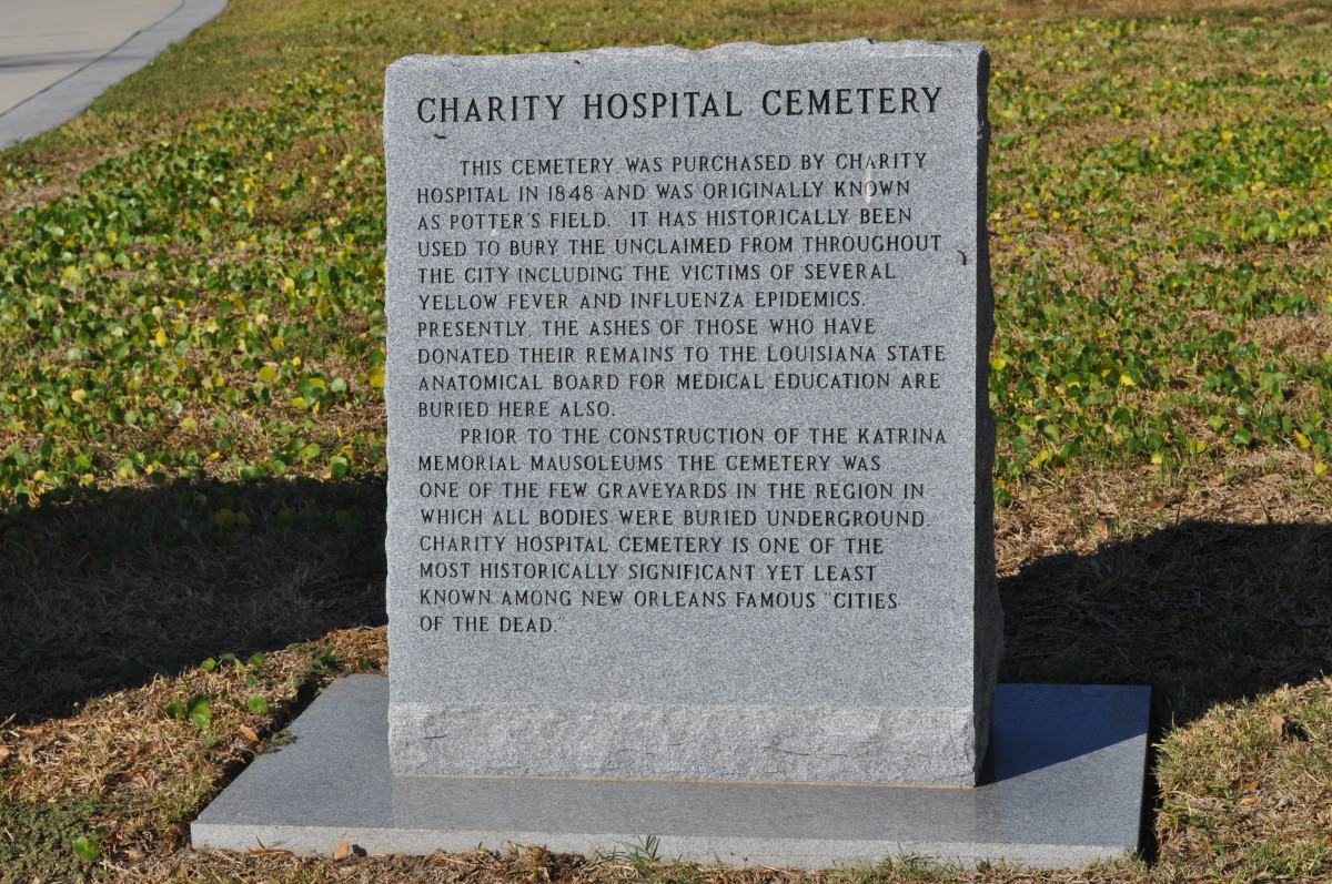 "The marker to the dead here. The last line reads ""Charity Hospital Cemetery is one of the most historically significant yet least known among New Orleans famous ""Cities of the Dead."""""