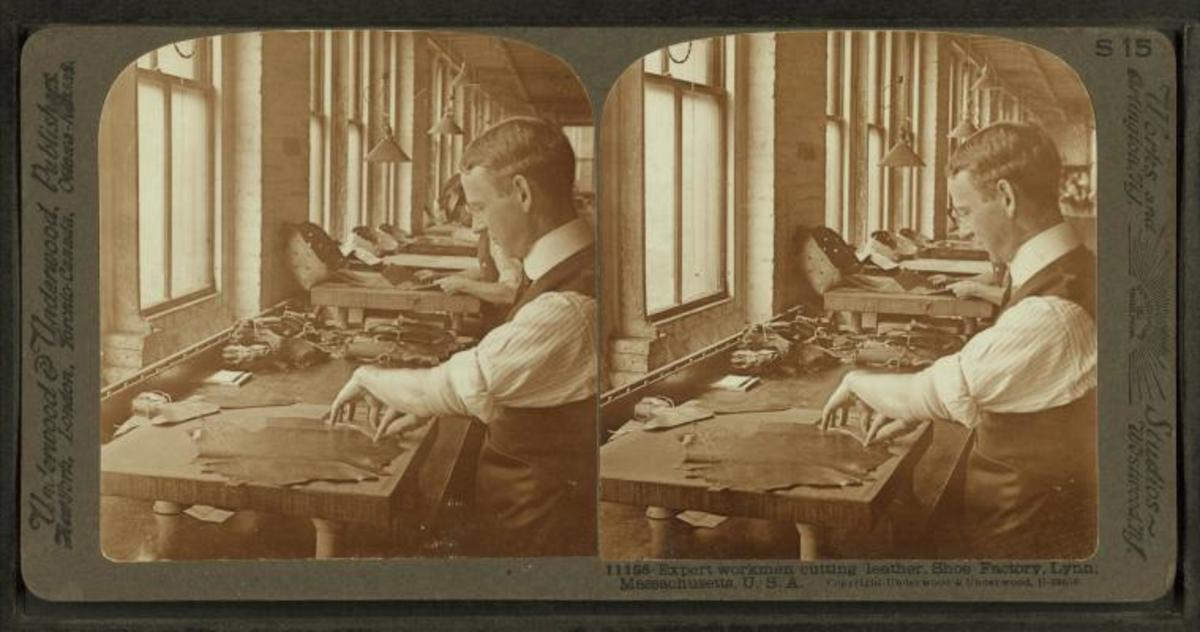 Expert workman cutting leather, shoe factory, Lynn, Mass., U.S.A.This media file is in the public domain in the United States. This applies to U.S. works where the copyright has expired, often because its first publication occurred prior to January 1