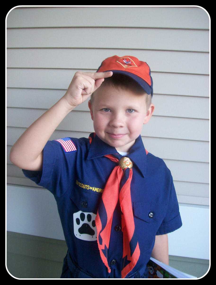 A boy scout salute, a form of respect.