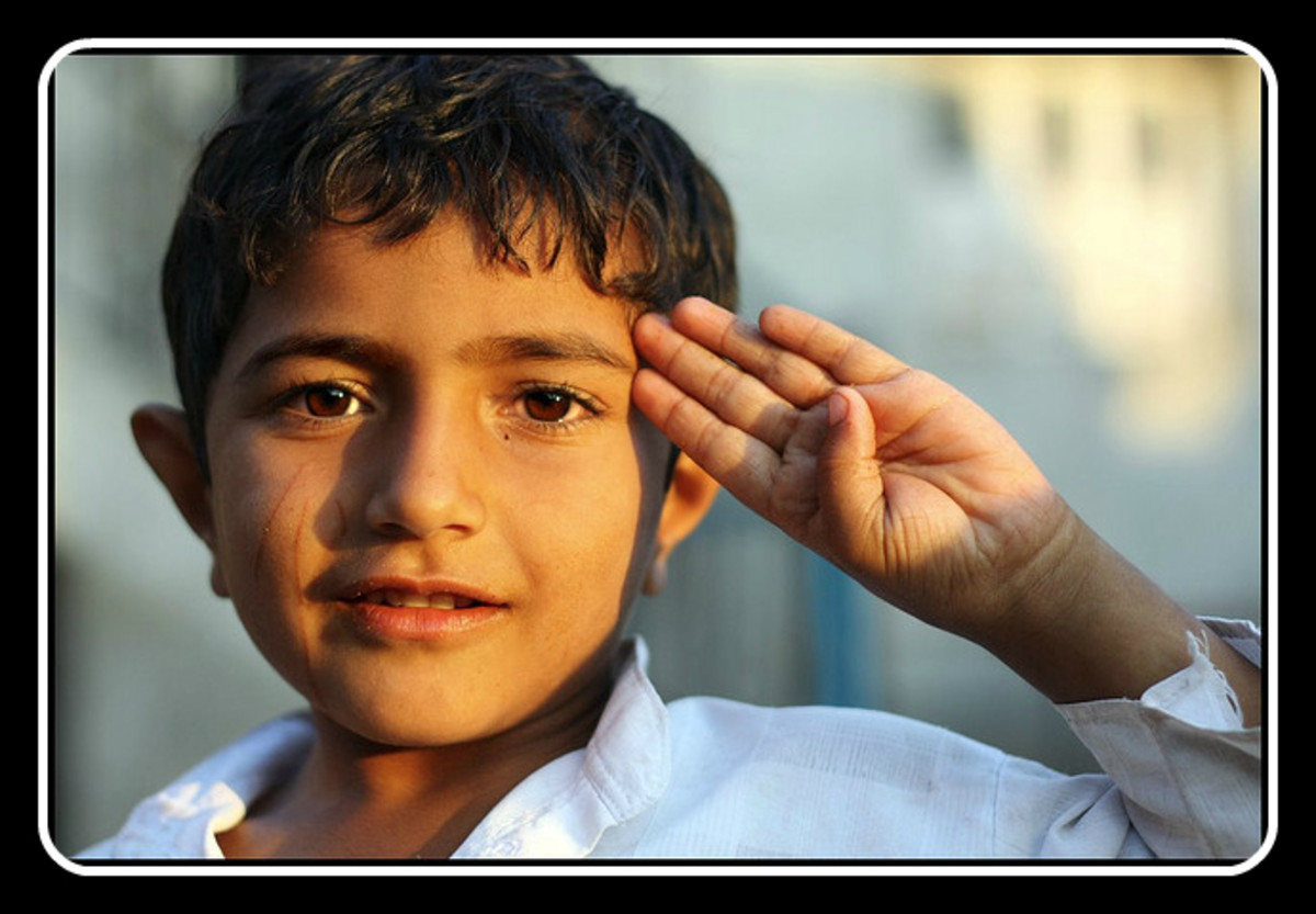 The salute, a form of respect.