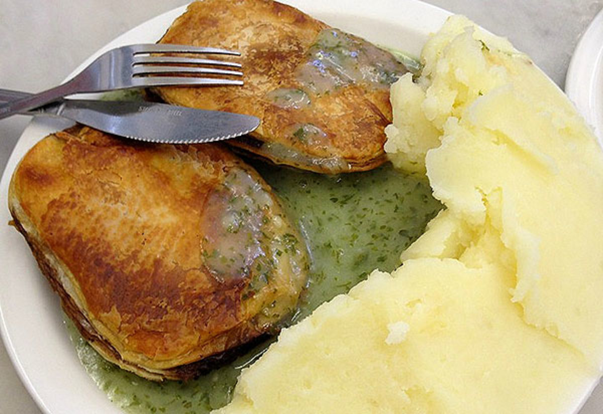 Pie and Mash with green liquor - London speciality