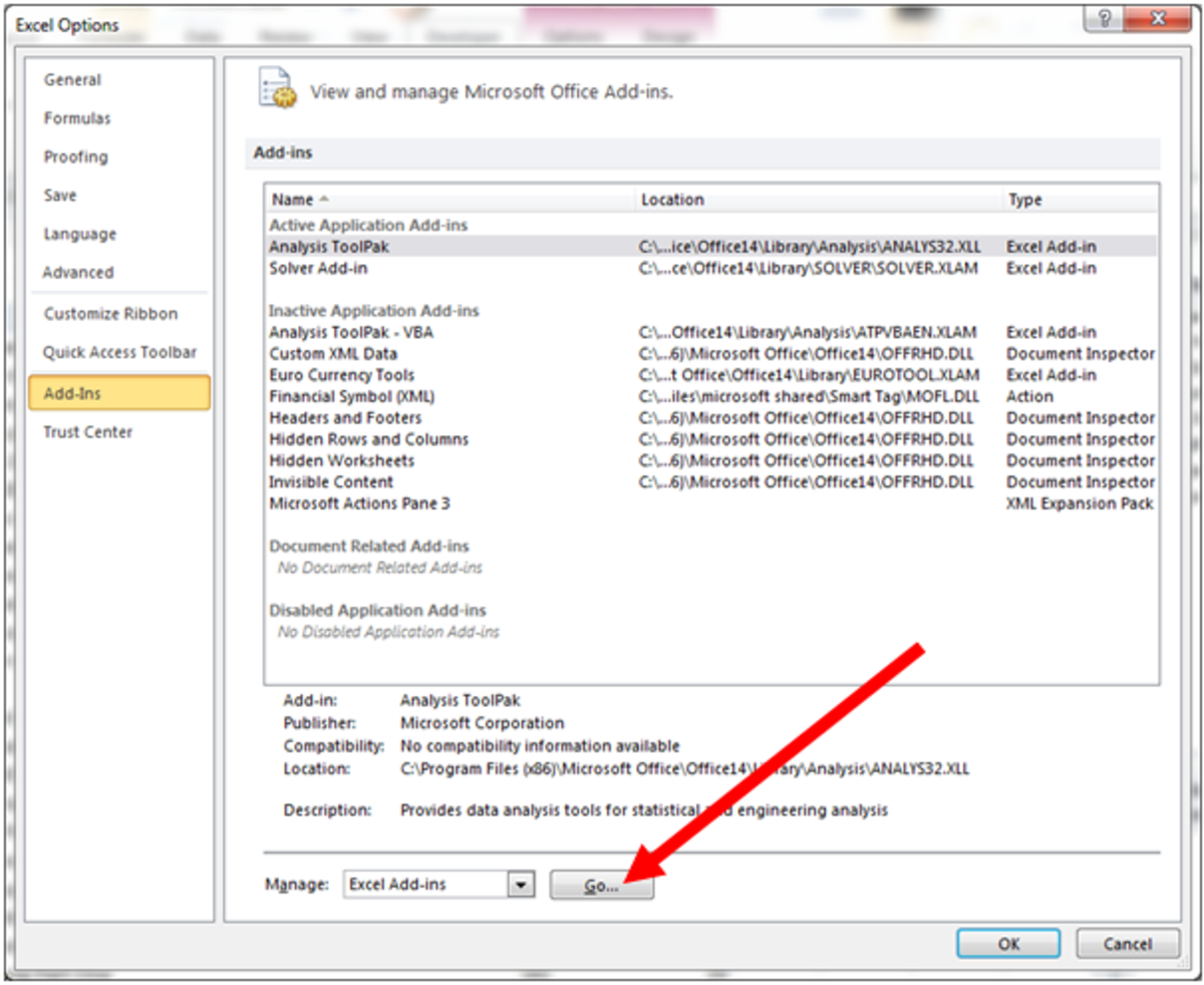 Adding the Analysis ToolPak to the enabled add-ins in Excel 2010.