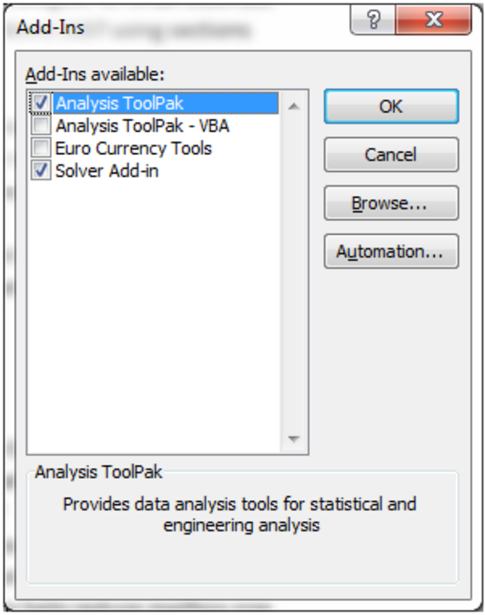 How to add the Analysis ToolPak to Excel 2010.