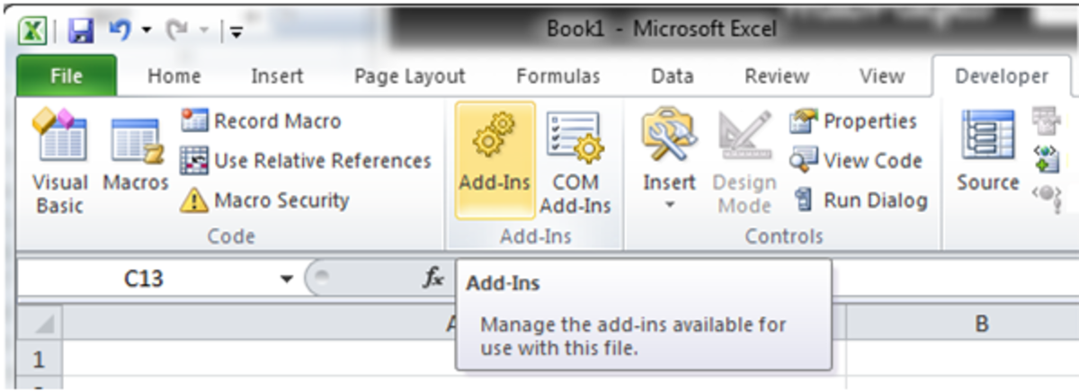 How to access the Add-Ins button in Excel 2010.