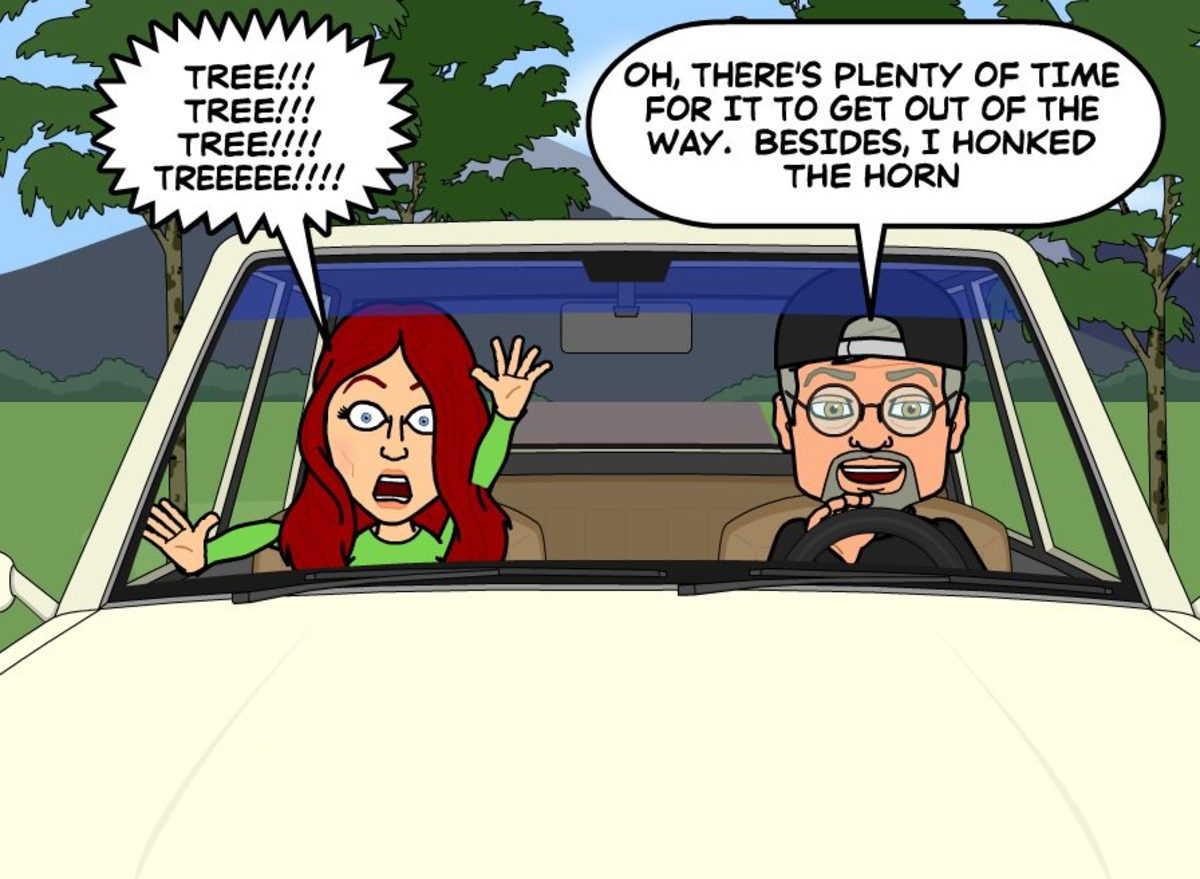 A cartoon of a typical car ride with my wife.