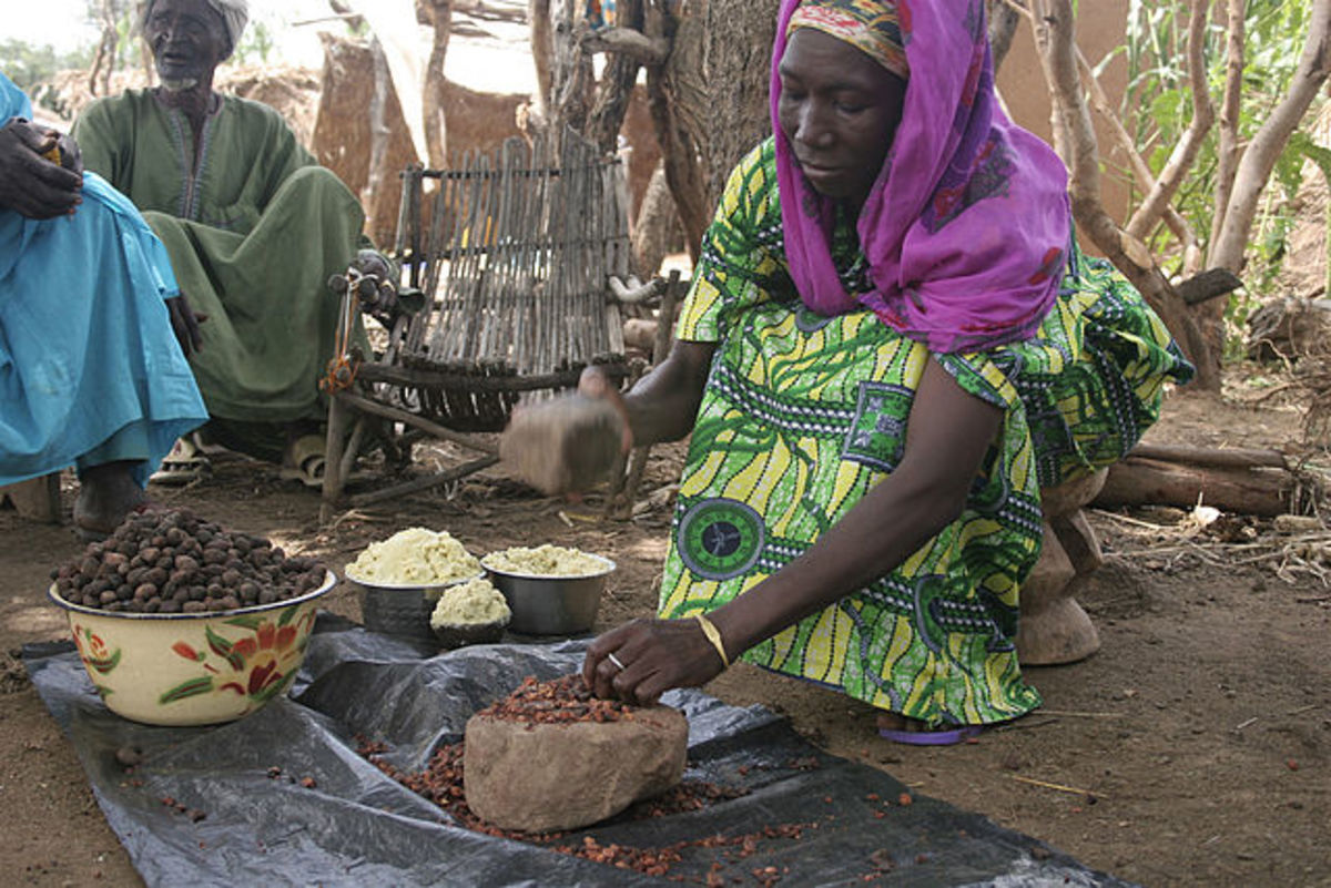 Women in Western and Central Africa aking shea butter