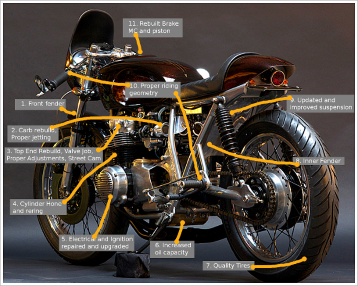 This recently built Honda CB550 Cafe Racer, owned by Mike Johnson, with the work done at Bridge City Cycles in Portland, OR., shows  the points where care was taken to make a safe, fast, and comfortable Cafe Racer.