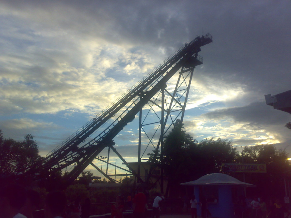 My photograph of one of the ends of the Space Shuttle in the Enchanted Kingdom, which is located in Laguna, Philippines. Avoid carrying your things inside!