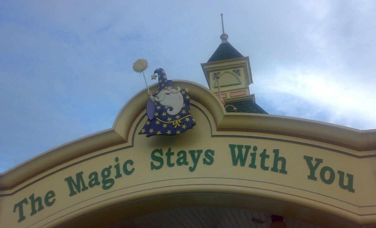 My photograph of the welcoming message located at the entrance of Enchanted Kingdom in the Philippines.