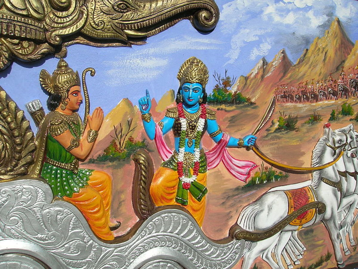 Krishna advises Arjuna on the war field.