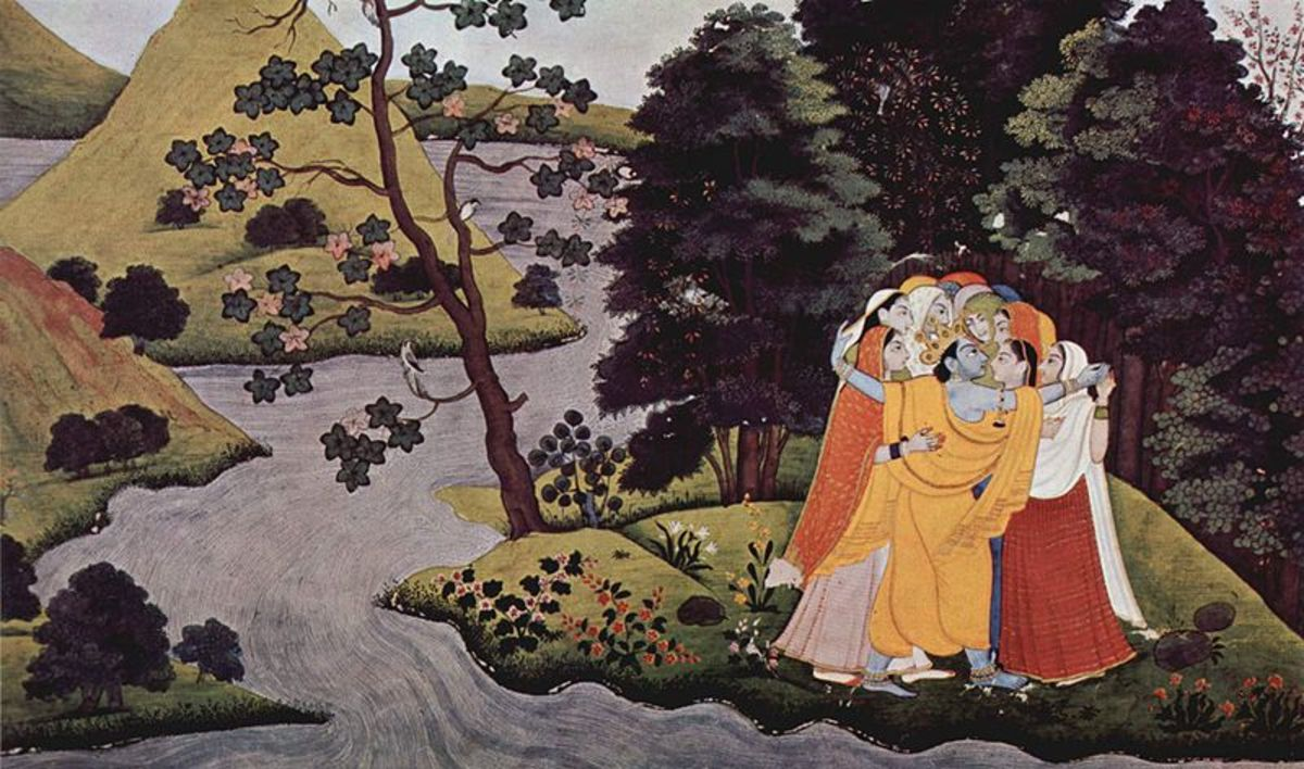 Krishna on a romantic moment with Radha and Gopikas (girl friends)
