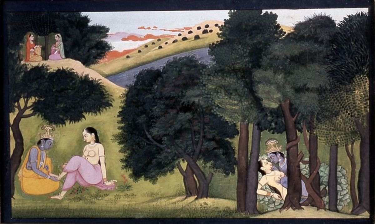 The playful Krishna with Radha