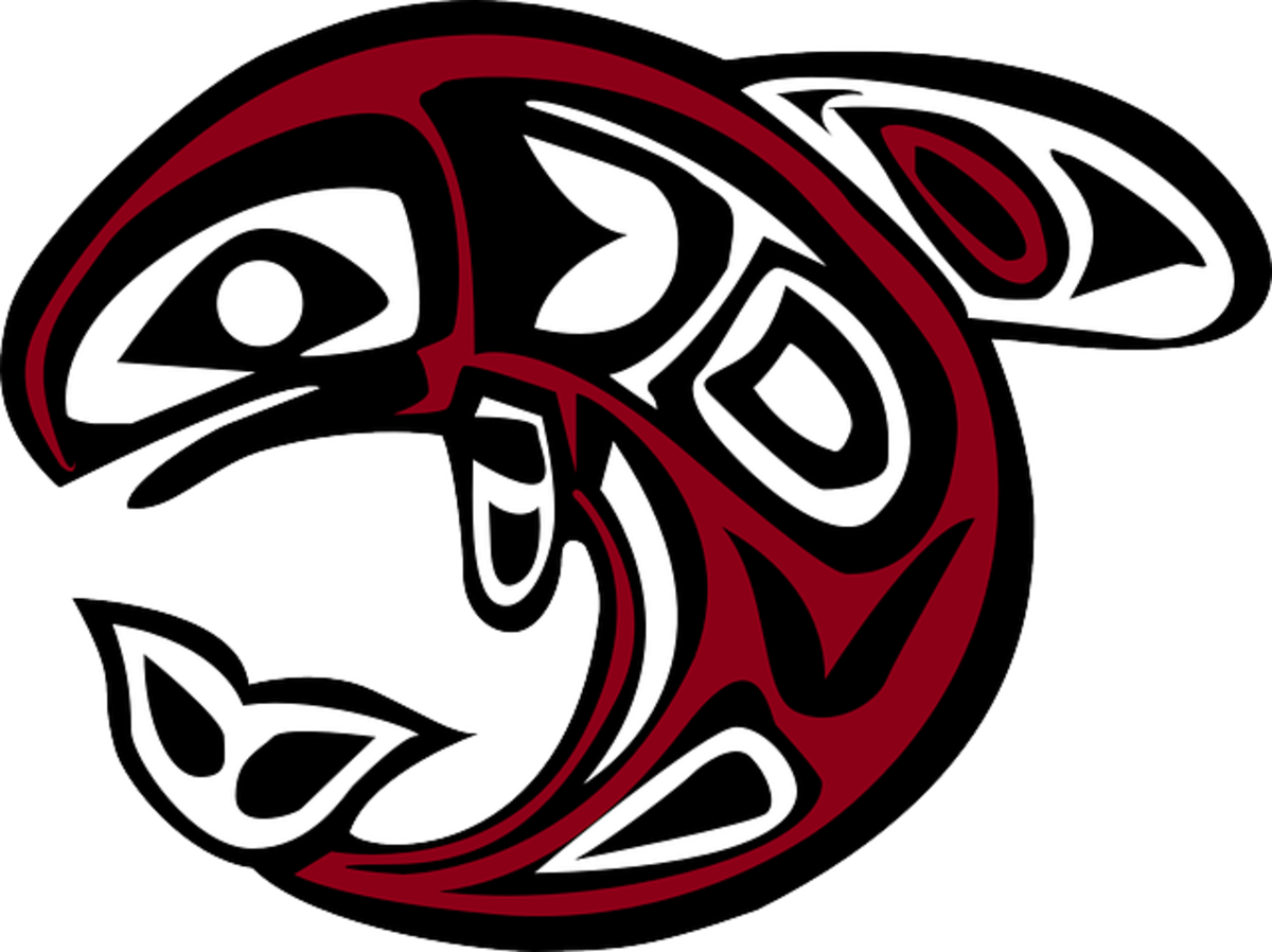 Pacific Northwest First Nations salmon in traditional art.