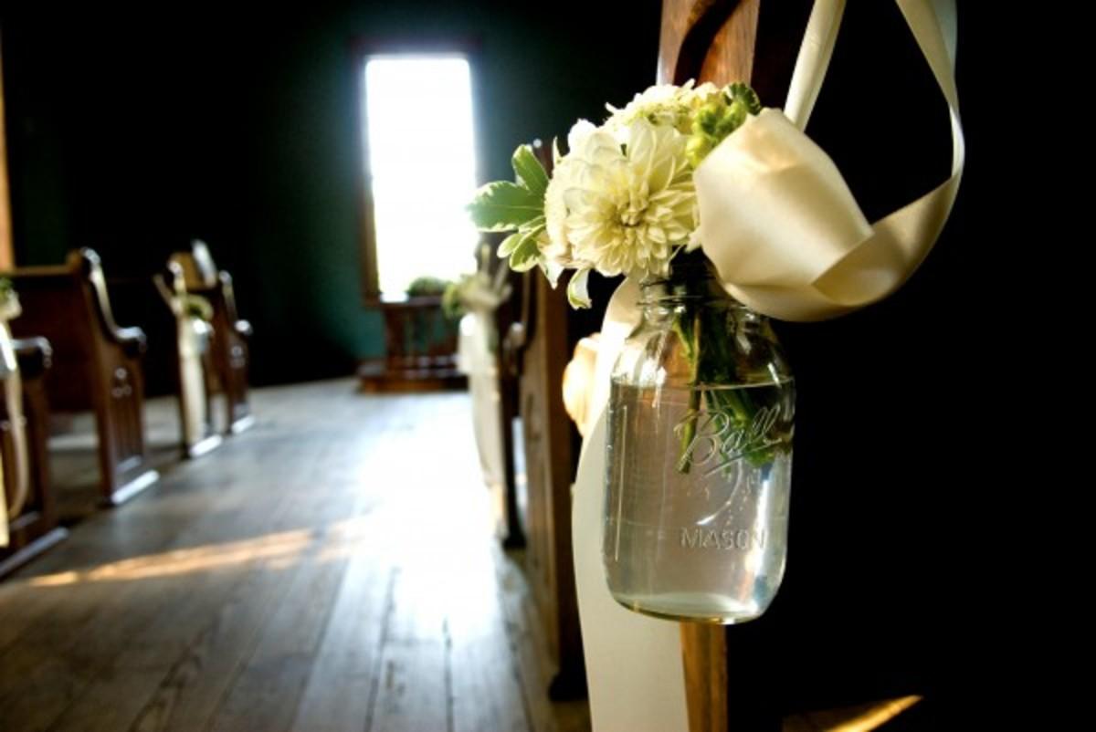 Aisle Flowers Rustic Wedding DIY