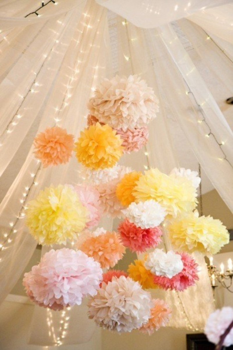 DIY pom-poms wedding decorations